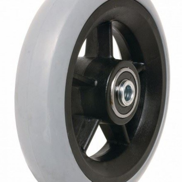 5″ (125 X 32mm) Black Plastic Wheel & Grey Tyre Castor Wheel