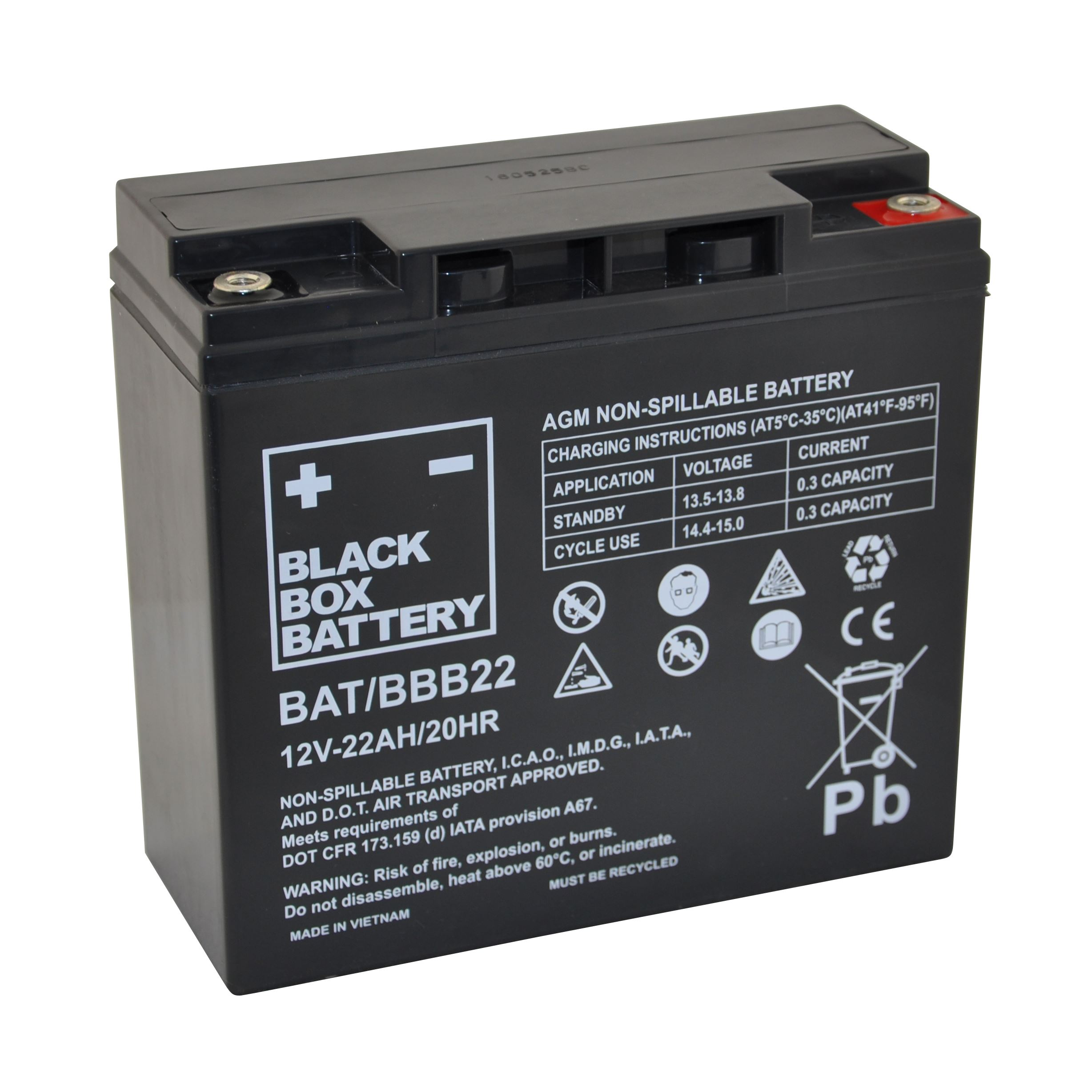 22ah Black Box Agm Battery Mobility For You