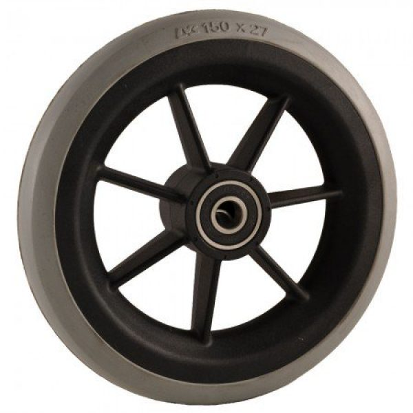 6″ (150 X 27mm) Black Plastic Wheel & Grey Tyre
