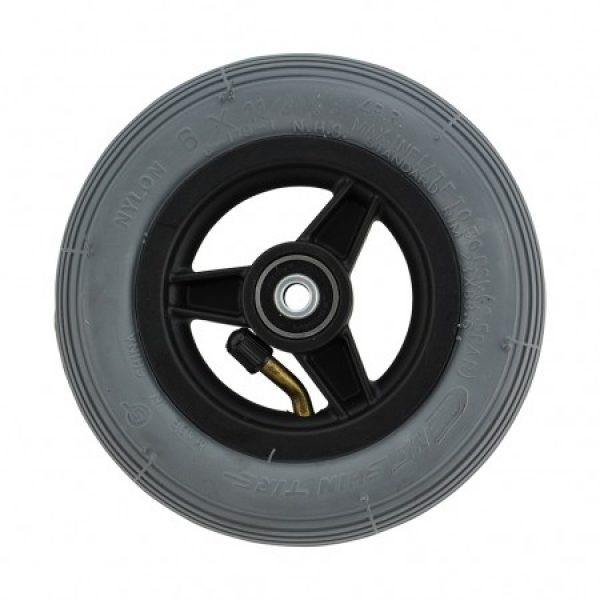 6 X 1 1/4 Black Plastic Wheel & Tyre Assembly