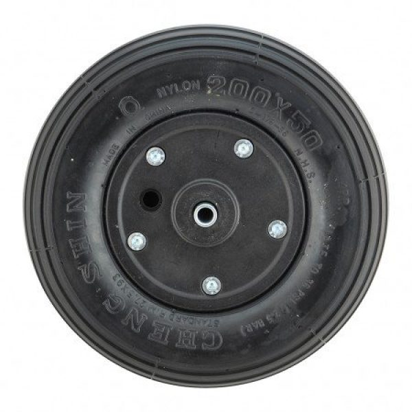 200 X 50 Black Plastic Wheel & Black Infilled Rib Tyre